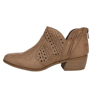 Shoes - Taupe Faux Suede Perforated Low Heel Ankle Boot